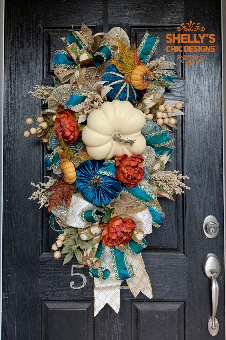 Thanksgiving wreath,, Victorian wreath,White pumpkin wreath,Blue pumpkin wreath, ,Fall pumpkin wreath, Elegant fall wreath,autumn wreath,Fal