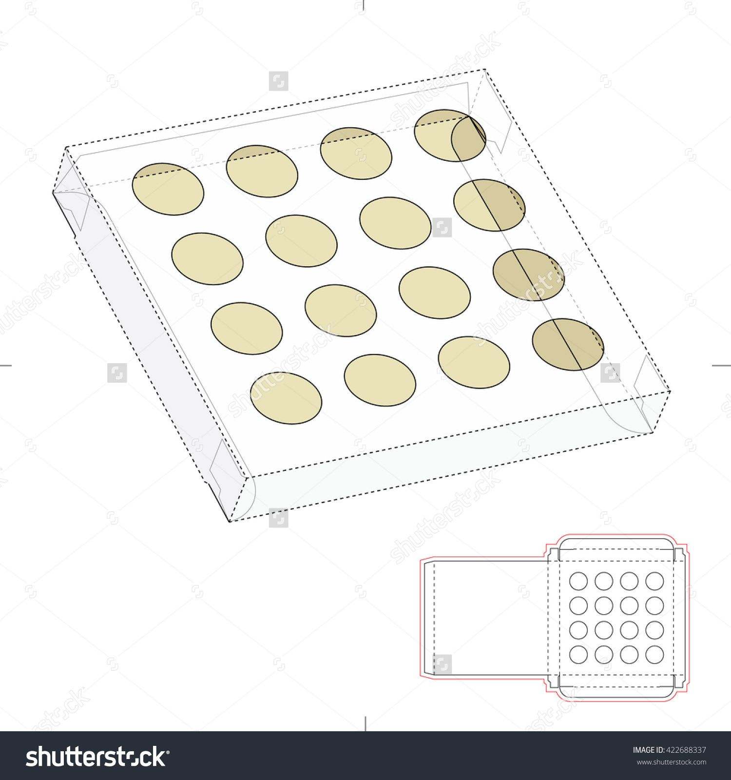 Square Tray Box With Blueprint Template Stock Vector Illustration 422688337 : Shutterstock
