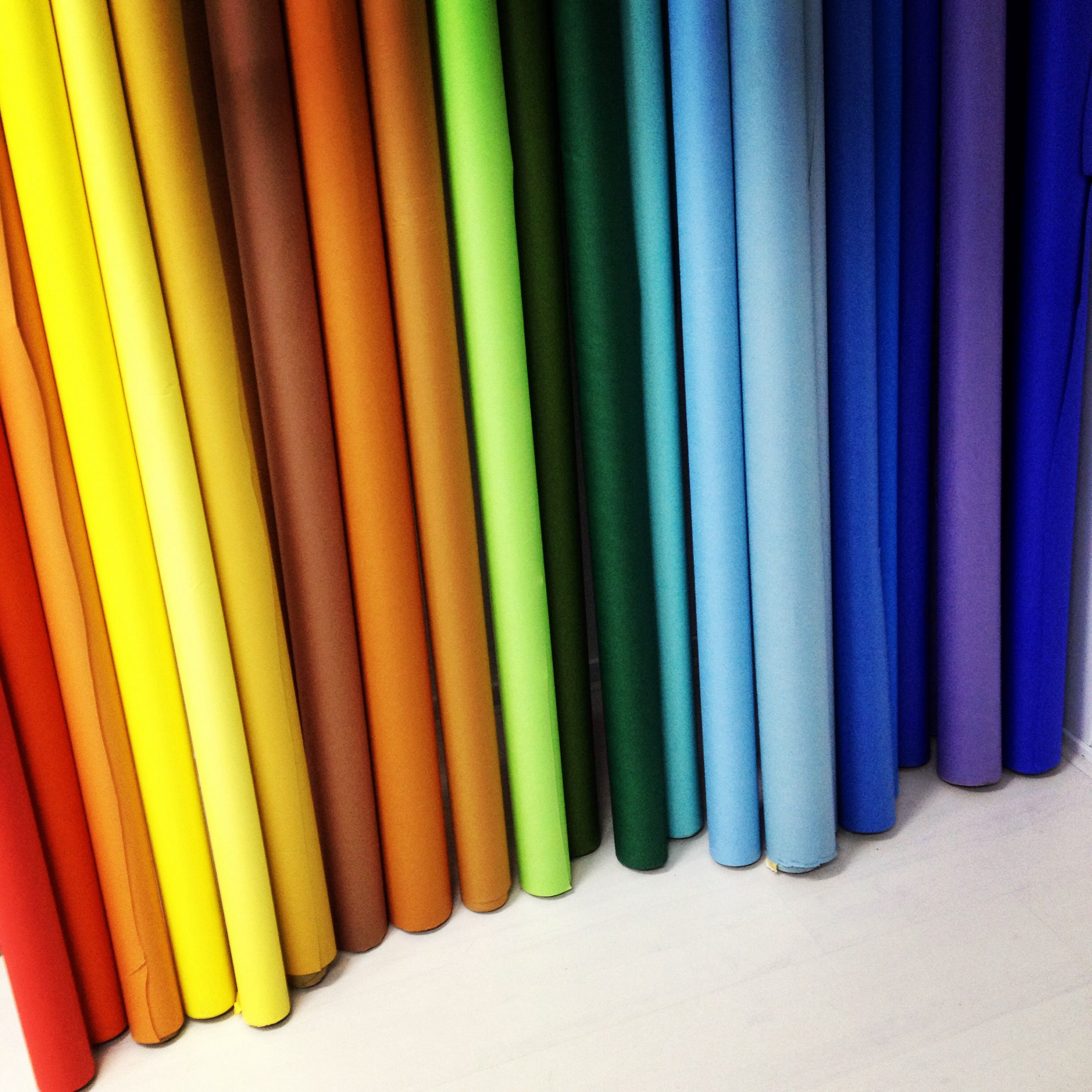 paper rolls in every color of the rainbow. almost 3 feet long