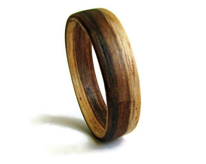 Natural Zebrano Wood Wedding Band Wooden Wedding Rings For Men