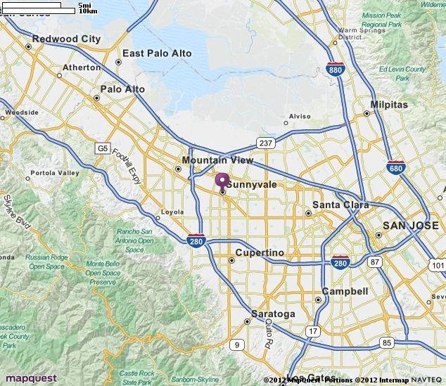 Sunnyvale, CA Map | MapQuest | Sunnyvale, CA | Map ...