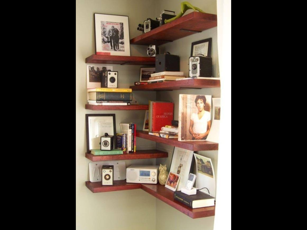 shelving for home office. I Like The Alternating Shelves In Corner-utilizes More Space. Small Space Living: 25 DIY Projects For Your Living Room. Maybe Some Corner Shelving Home Office