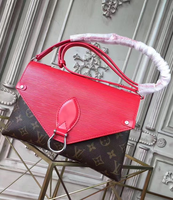 fe9c0dbec3b4 Louis Vuitton Saint Michel with Red Leather. See more Louis Vuitton bags at  https