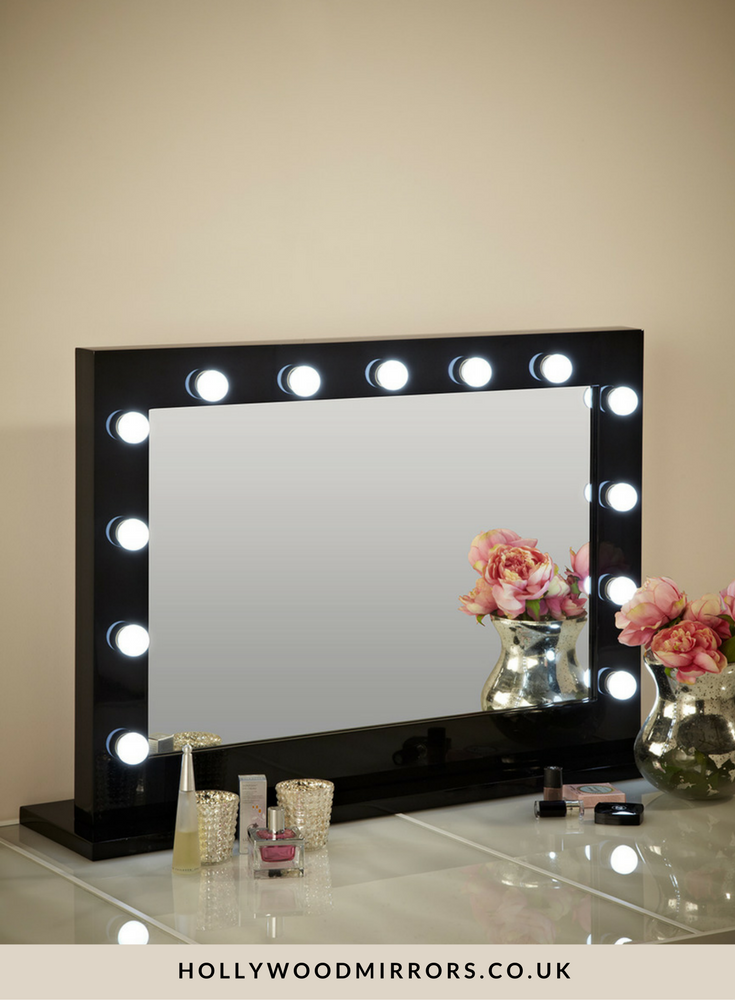Hollywood Mirror In Black Gloss | Makeup Mirror With Lights | Dressing Table  Mirror With Lights | Vanity Mirror With Lights | Illuminated Makeup Mirror  ...