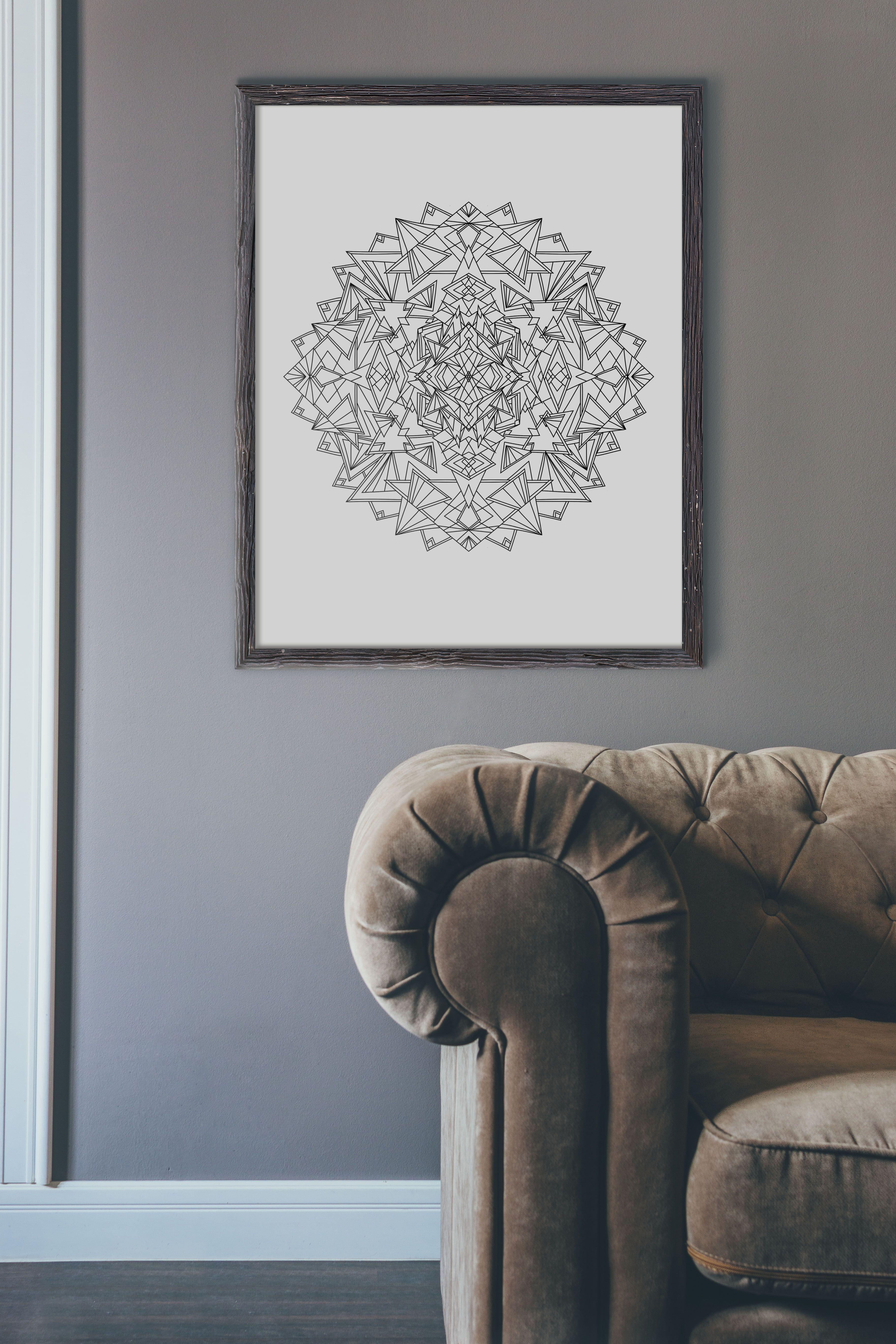 Mandala Art Print, Boho Wall Art, Printable Art, Living Room Decor