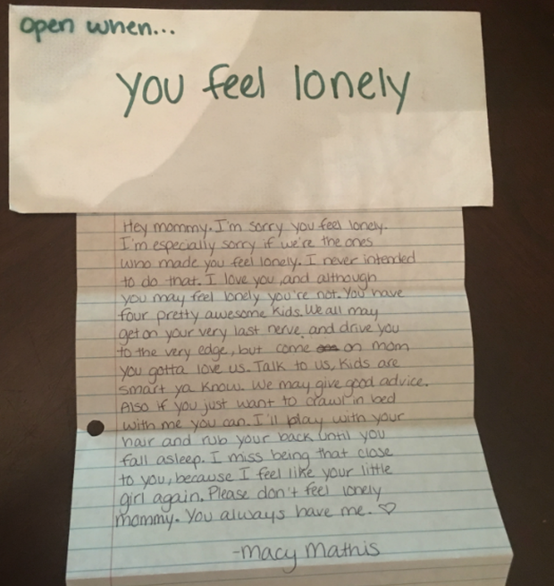 Open when you miss me: Late daughter leaves behind letters to mom