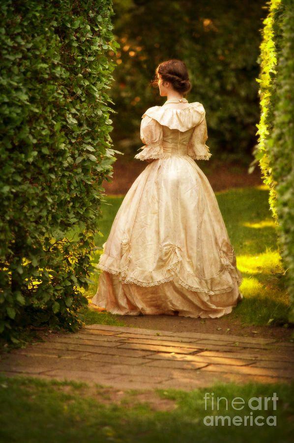 Victorian Women in America | Victorian Woman In A Formal Garden In Summer Photograph - Victorian ...