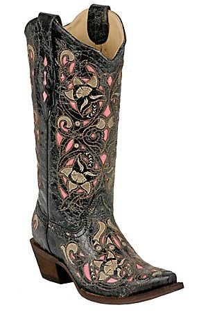 Corral Ladies Distressed Black / Brown Floral with Pink Inlay Snip Toe Western Boots