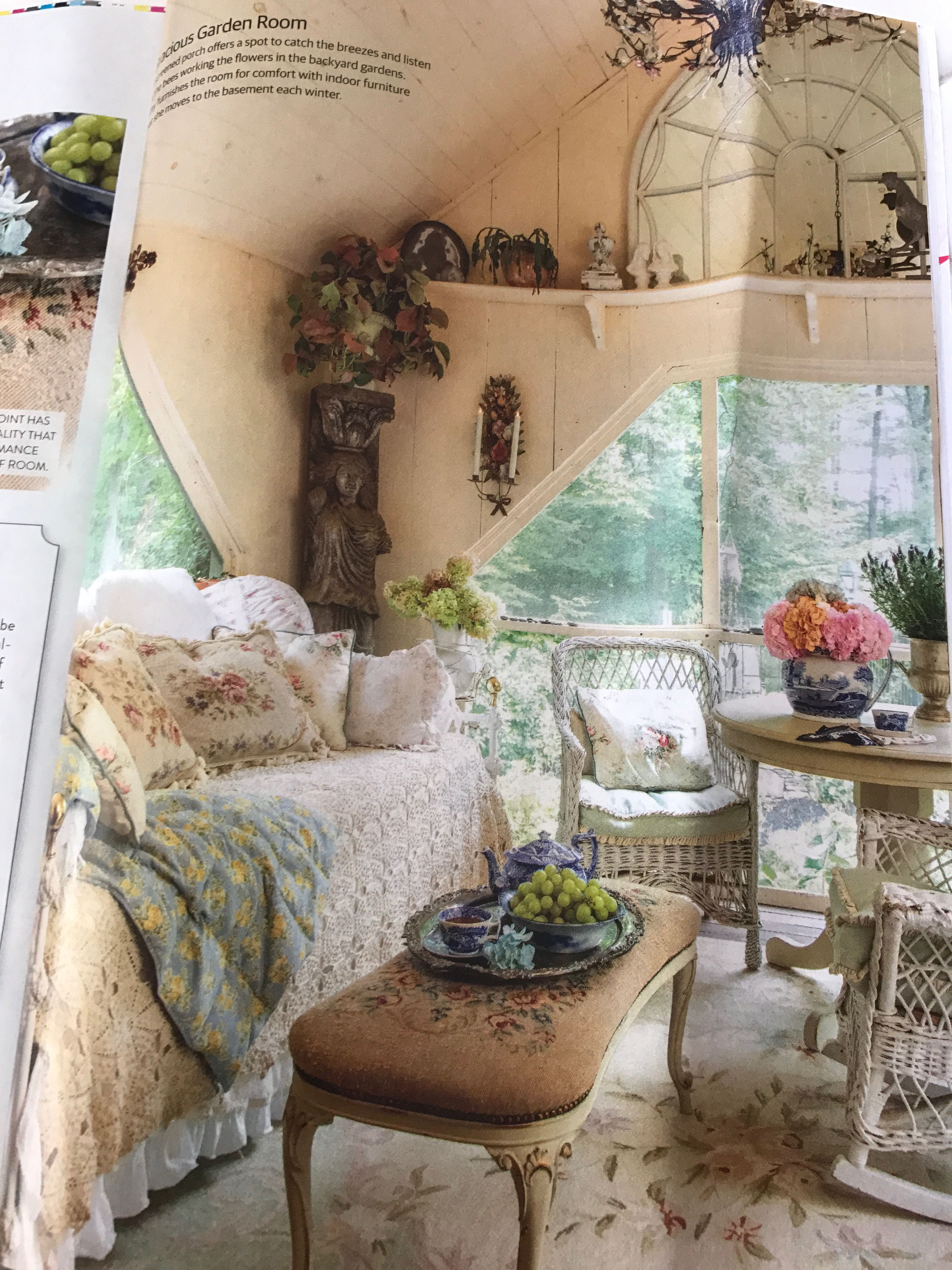 Screened Porch In Romantic Country Magazine Summer 2017 Porch Accessories Cottage In The Woods Vintage House