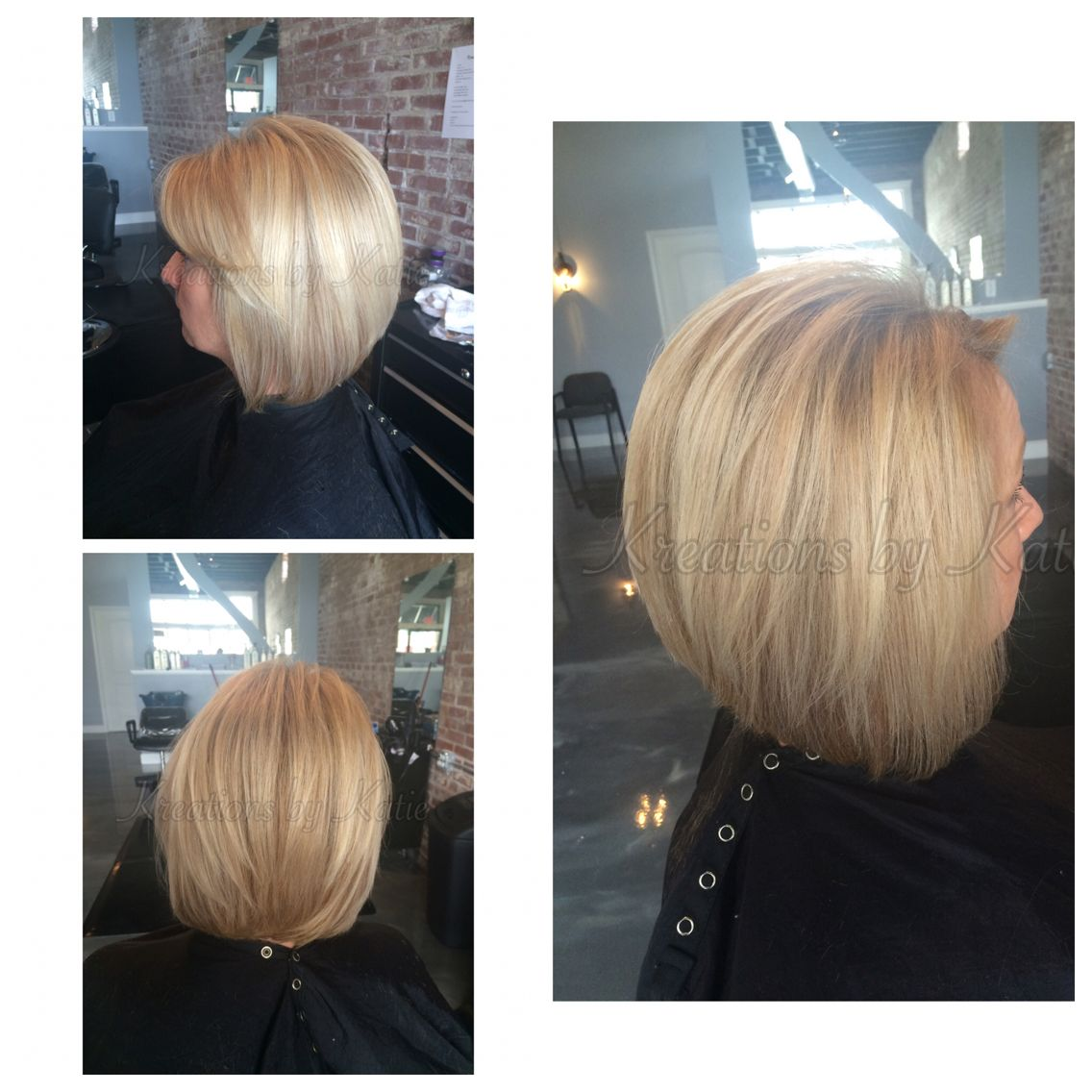 Longer Stacked Swing Bob Blonde Haircut Side Swept Bangs Hair