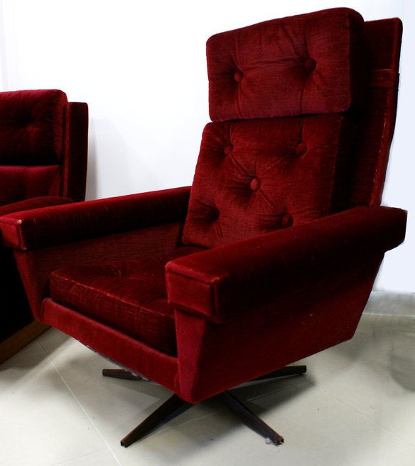 1940s-1950s Deep Red Velvet Reclining Chair : red reclining chairs - islam-shia.org