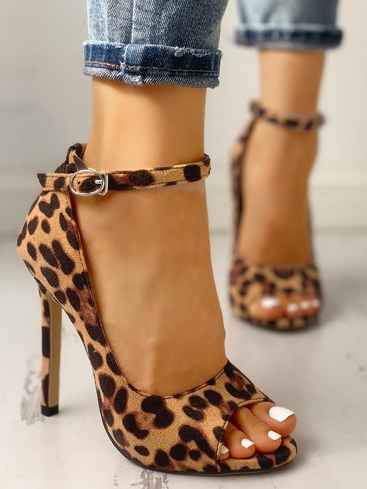 f3738c2ca0 Leopard Print Peep Toe Ankle Strap Sandal  (US4.5/US5.5/US6/US7/US8/US8.5/US9.5/US10/US11) $46.99