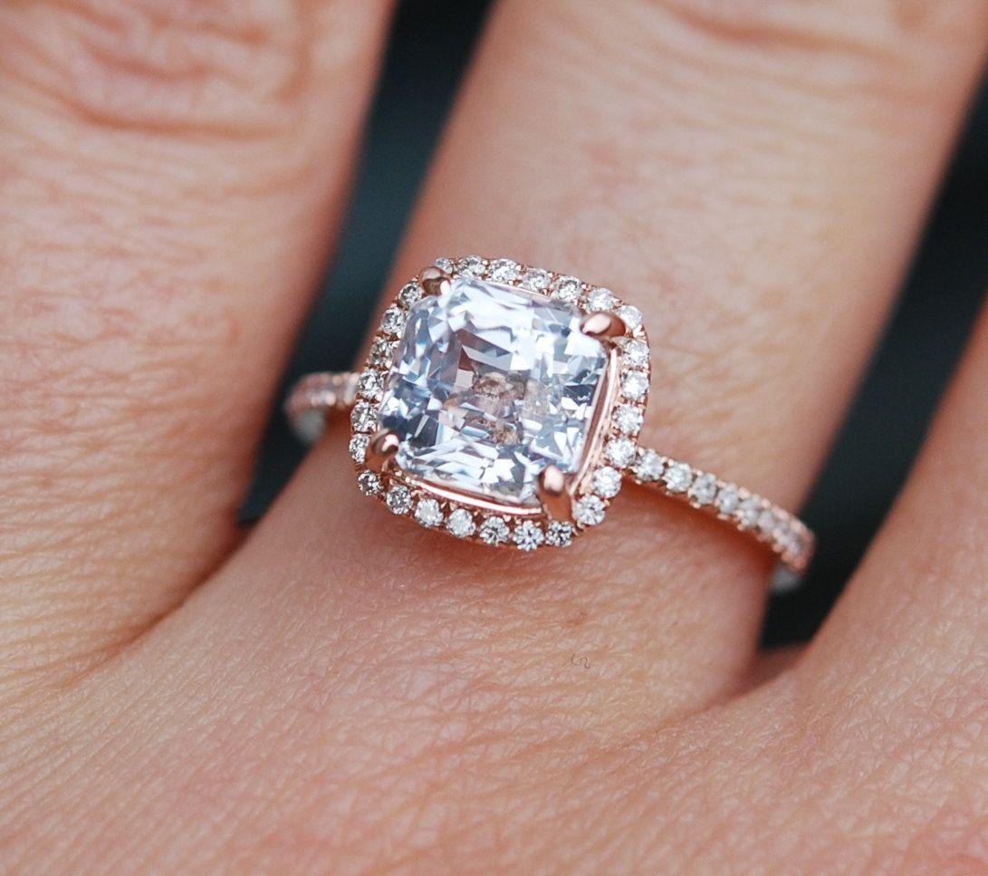 White Sapphire Engagement Ring 14k Rose Gold By Eidelprecious