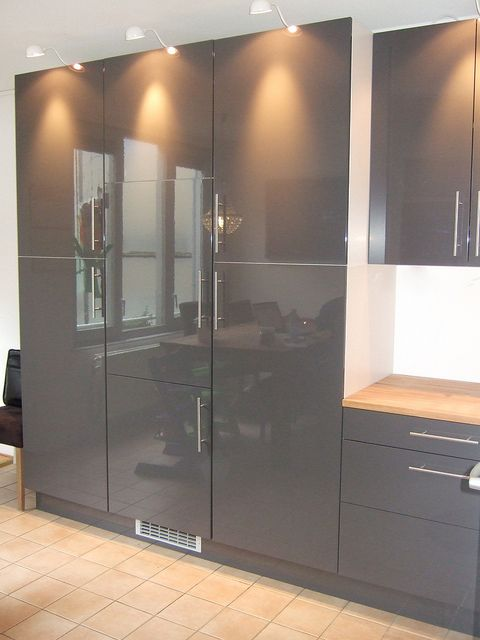 FAKTUM Kitchen With ABSTRAKT Grey High Gloss Doors/drawers And LANSA  Stainless Steel Handles   Kitchen   Pinterest   Gray Cabinets, High Gloss  And Dark Grey