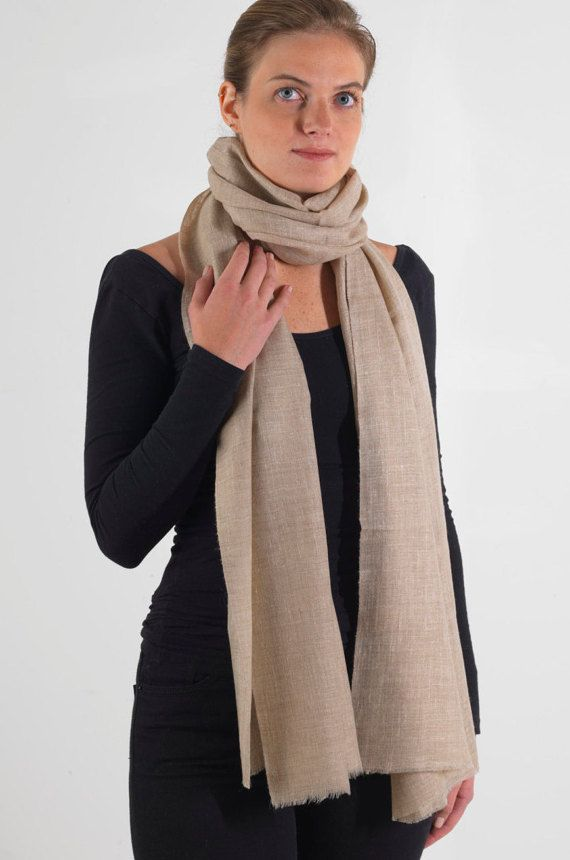 Pure Cashmere Scarf Light Grey - Travel Wrap - Cashmere Shawl - Ultrafine, Super Soft, Supremely Warm, Natural Colour, Generous Size