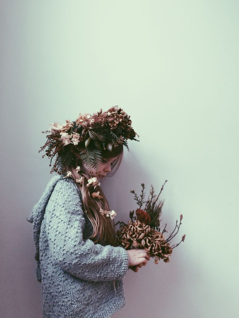 Winter woodland gathered crown and bouquet. Sweater by Little Lief.
