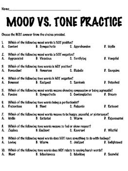 Mood and Tone Tutorial Reading Comprehension Worksheet ...
