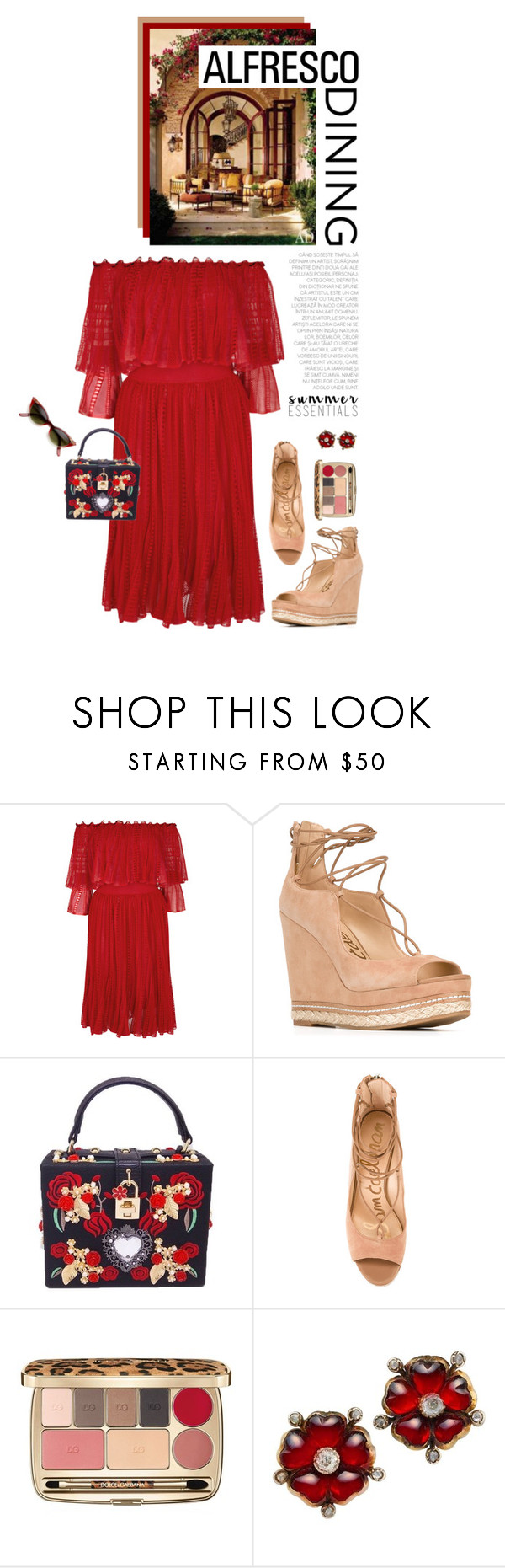"""Easy Breezy: Alfresco Dining"" by shortyluv718 ❤ liked on Polyvore featuring Alexander McQueen, Sam Edelman, Dolce&Gabbana and alfrescodining"