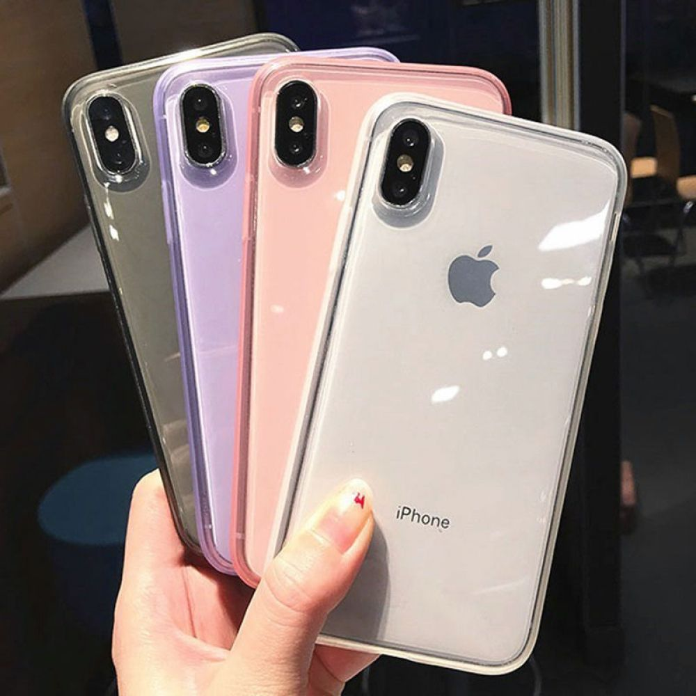 Fashion colorful transparent antishock frame phone case