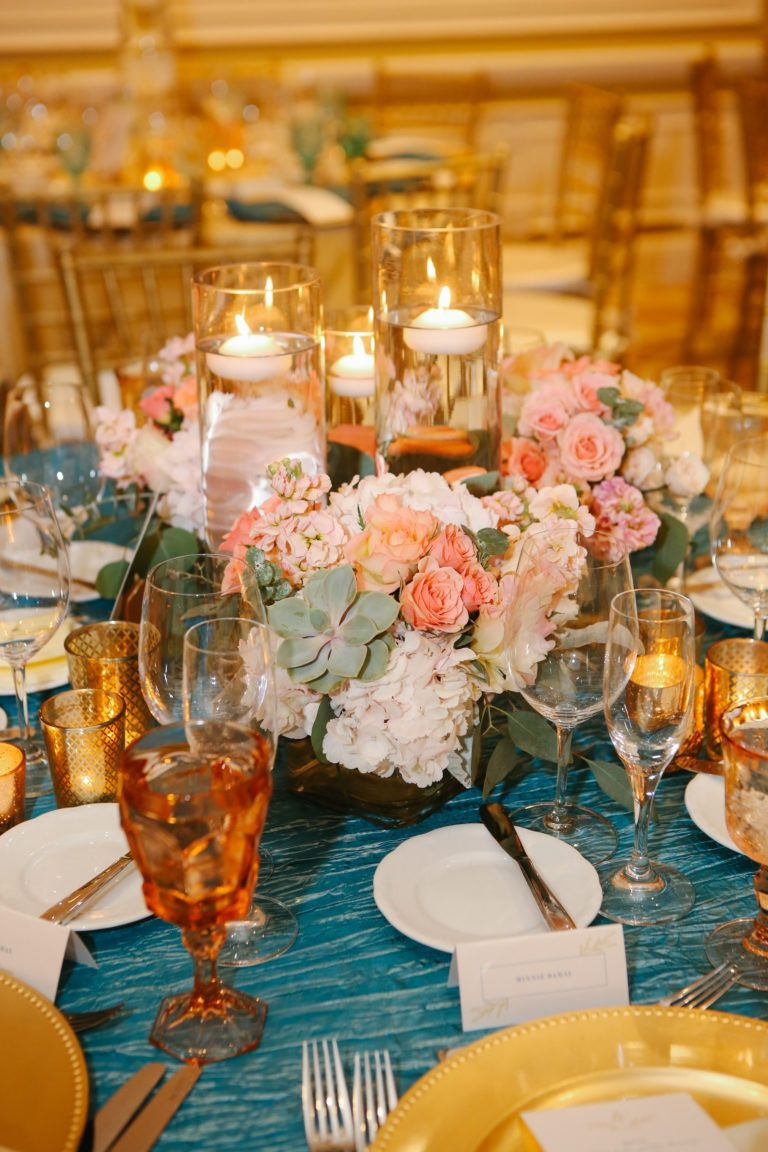 Dark Teal Coral And Gold Wedding Reception Decor And Centerpieces