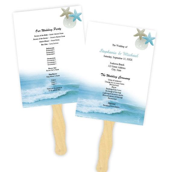 Wedding Program Fan Template - Ocean Waves Fans - DIY Printable