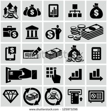 Finance & banking icons set. - stock vector   Zero States   Banks icon, Icon set, Pictogram