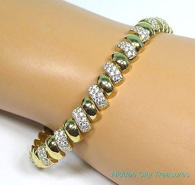 Qvc Diamonique Pave San Marco 18k Gold Over Sterling Silver 8 Bracelet