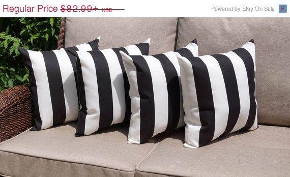 Deck Stripe Black And White Stripe Outdoor By Landofpillowsdotcom