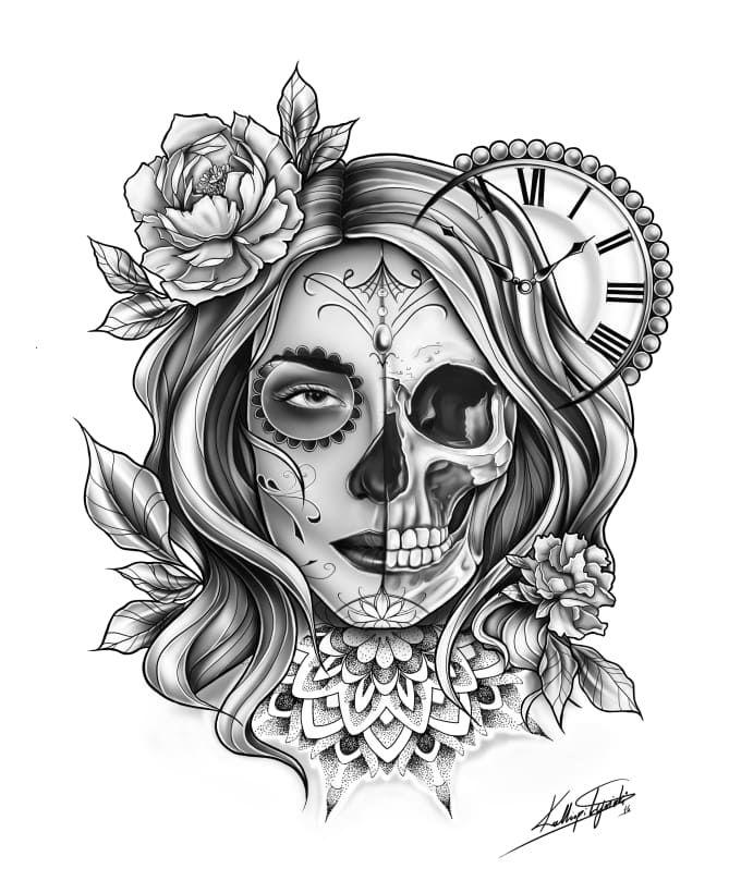 For Only 5 Kalliopilyviaki Will Create A Unique Tattoo Design My Name Is Kalliopi Lyviaki K L Sketches O Unique Tattoo Designs Skull Girl Tattoo Tattoos