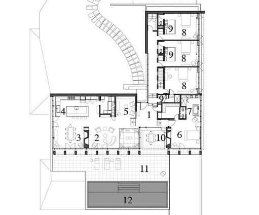 The L-shaped floor plan.1 Entrance Hall 2 Living Room 3 Dining Room 4 Kitchen 5 Study 6 Master Bedroom 7 Master Bath 8 Bedrooms 9 Baths 10 Outdoor Dining Room 11 Terrace 12 Pool