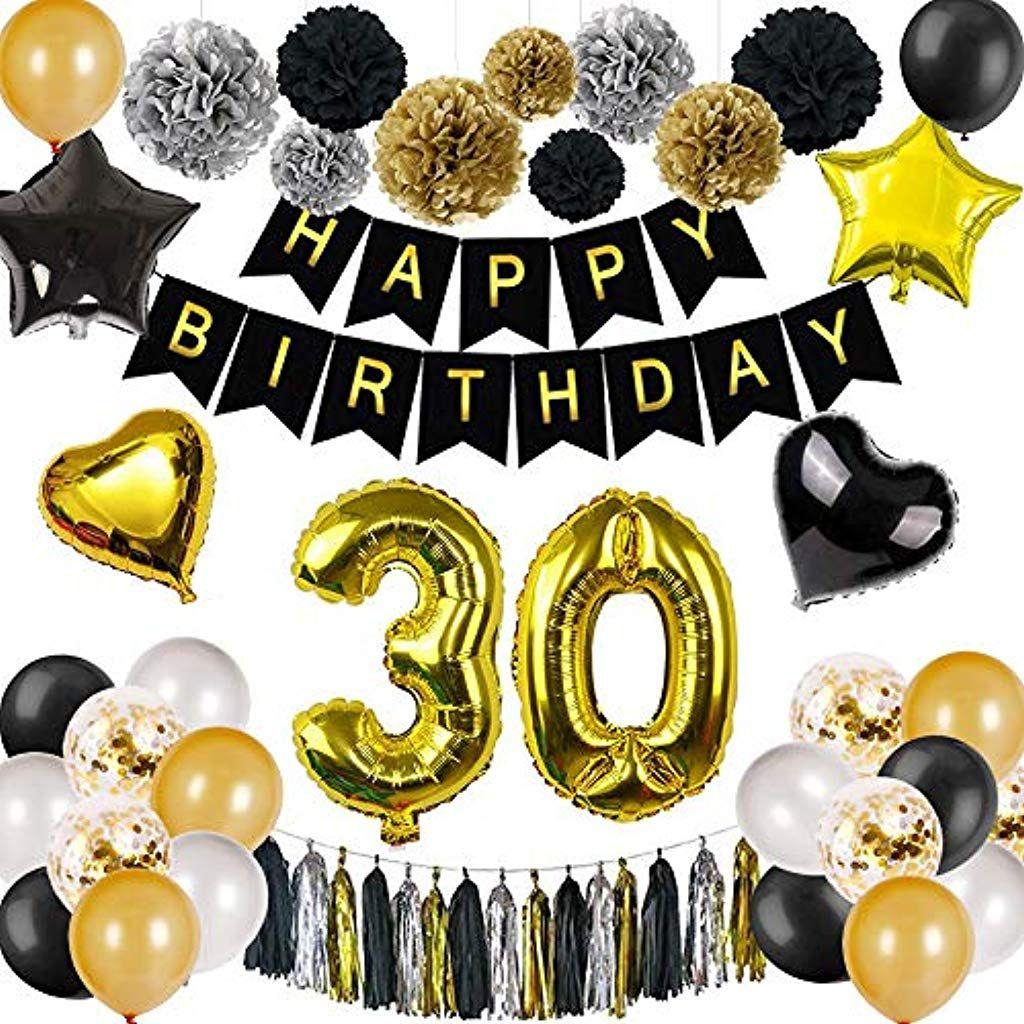 Danxian Deko 30 Geburtstag Geburtstag Dekoration Set Schwarz Gold