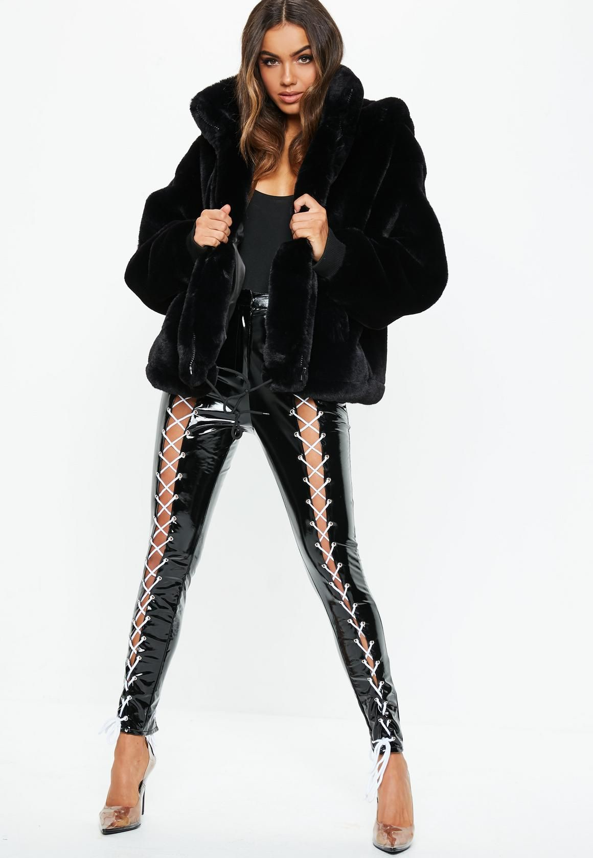 9a150a782 Missguided - Fanny Lyckman X Missguided Black Tomboy Oversized Faux Fur  Hooded Coat