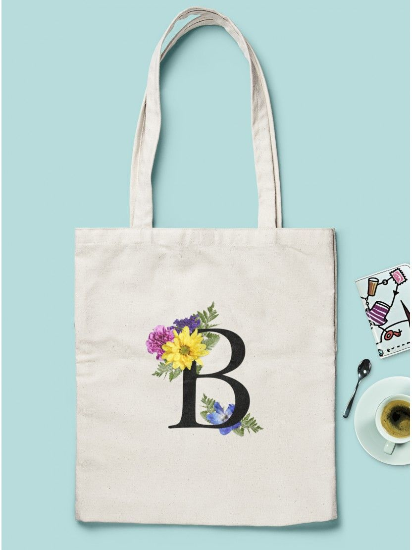 Monogram Flower Tote Personalised Letter Natural Cotton Tote Bag