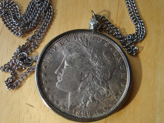 Silver dollar necklace vintage 1889 morgan silver dollar pendant silver dollar necklace vintage 1889 morgan silver dollar pendant necklace this necklace is made mozeypictures Choice Image