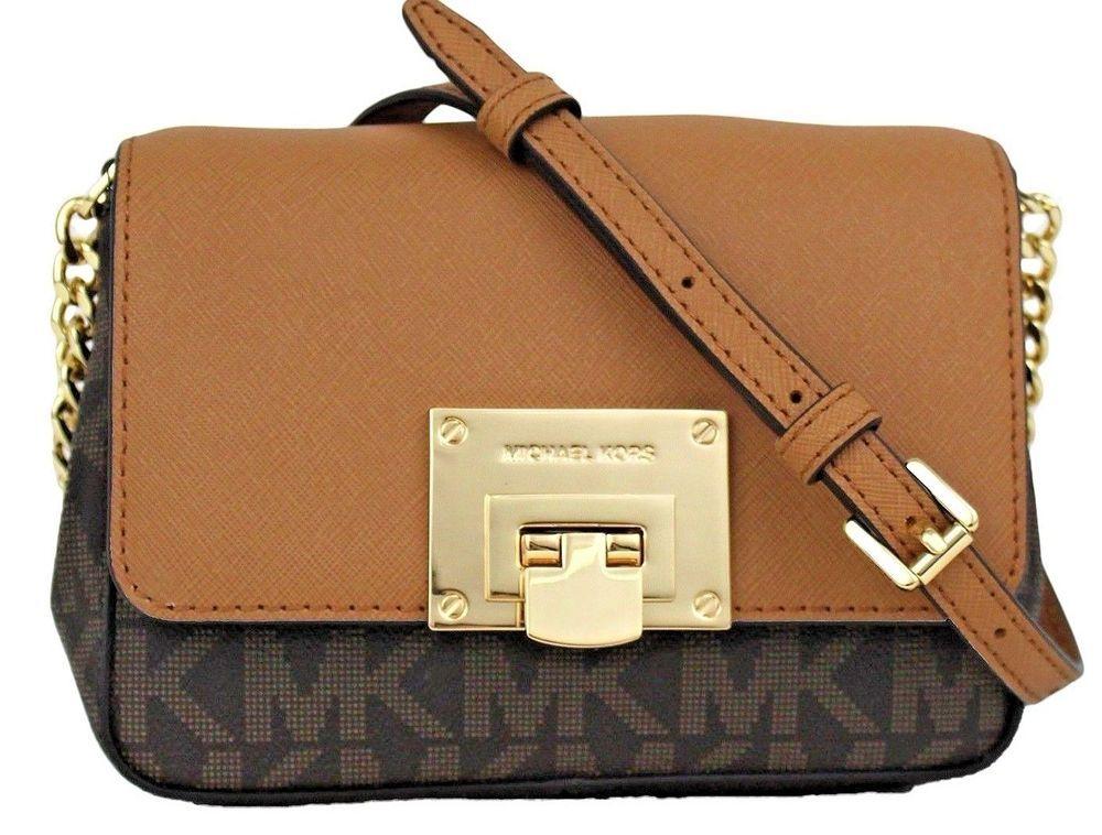 3942644d13cf NWT Michael Kors Tina MK Signature Small Mini Crossbody Bag Brown Acorn  Flap Bag