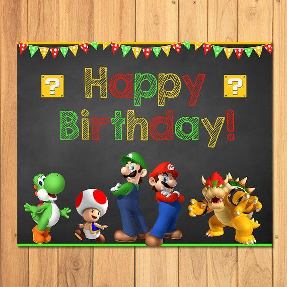 Super Mario Brothers Happy Birthday Sign Super Mario Brothers