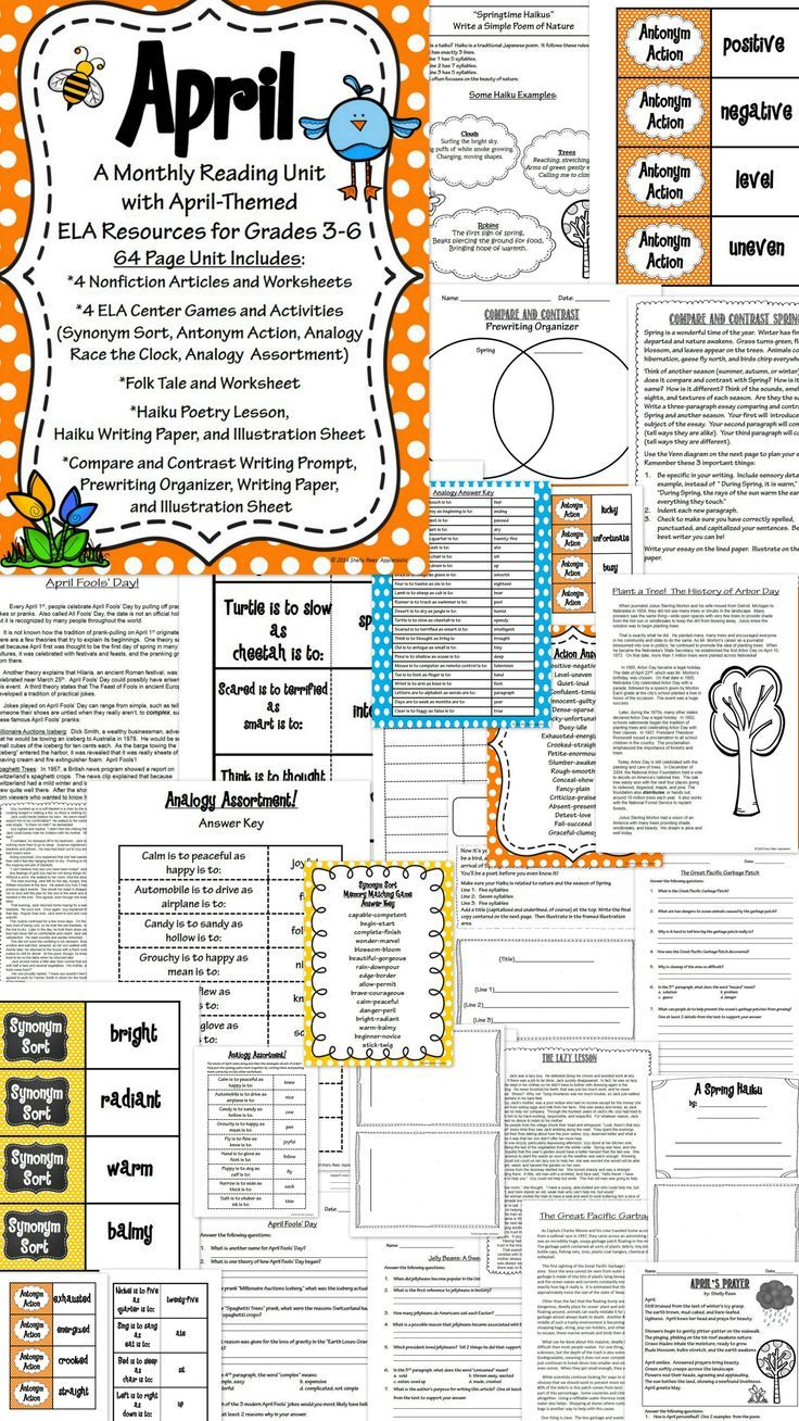 April Spring Themed Reading Ela Unit For Grades 3 6 This Huge Packet Has 67 Pages Of Ela Goodness With Reading Informational Passage Literature Activities [ 1308 x 736 Pixel ]