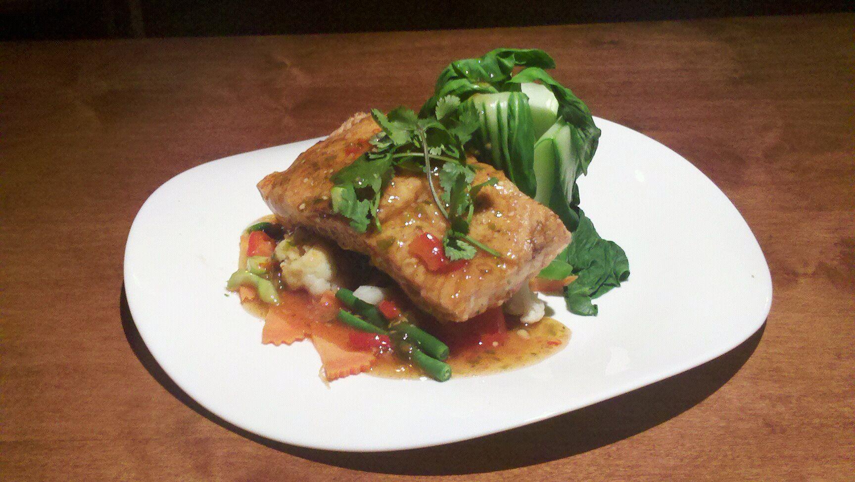 Fresh salmon best thai food tasty ingredients food