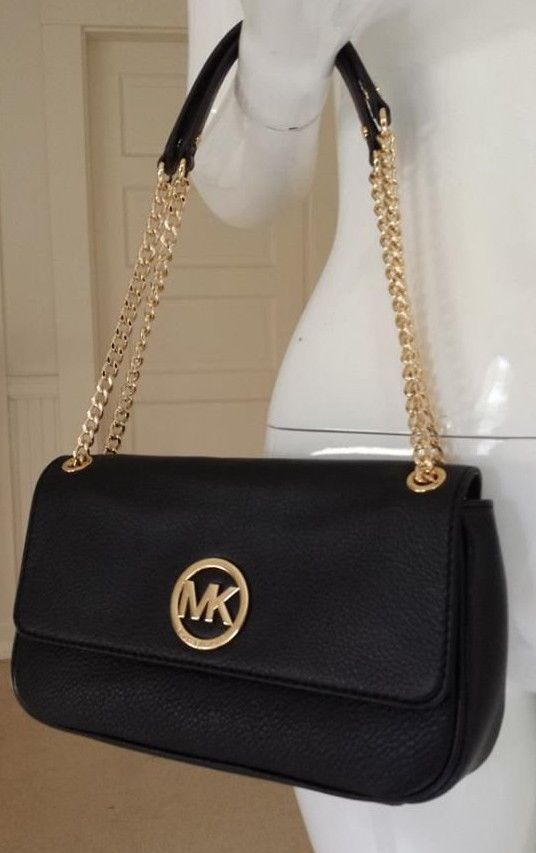 c49cf7159079 Michael Kors FULTON 38S3YFTF1L SMALL SHOULDER FLAP Leather Bag, BLACK, GOLD  HW! #MichaelKors #ShoulderBag