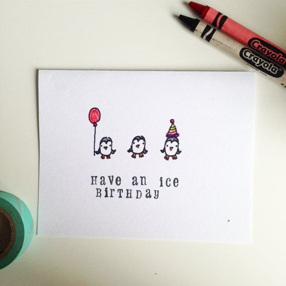 Cute Birthday Card With Penguins Handmade By Party Tranimal Have