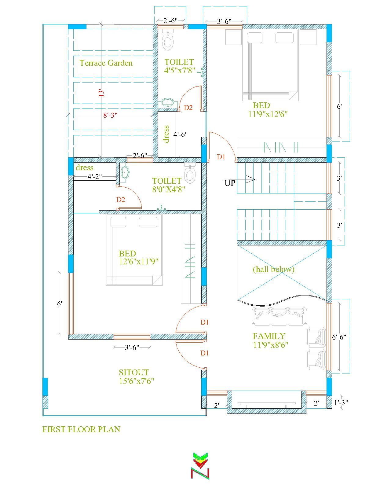 30x40 North Facing 3bhk Duplex Plan First Floor 30x40 House Plans North Facing House Beautiful House Plans