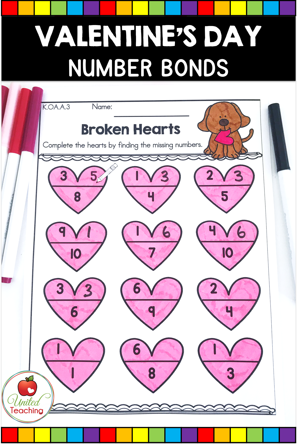 Valentine S Day Math And Literacy Kindergarten No Prep