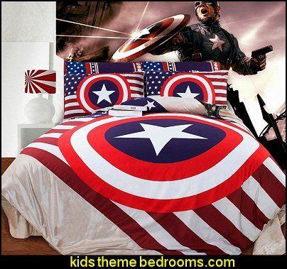 captain america bedroom decor | ... Stripes Bedding-The Avengers 3D ...