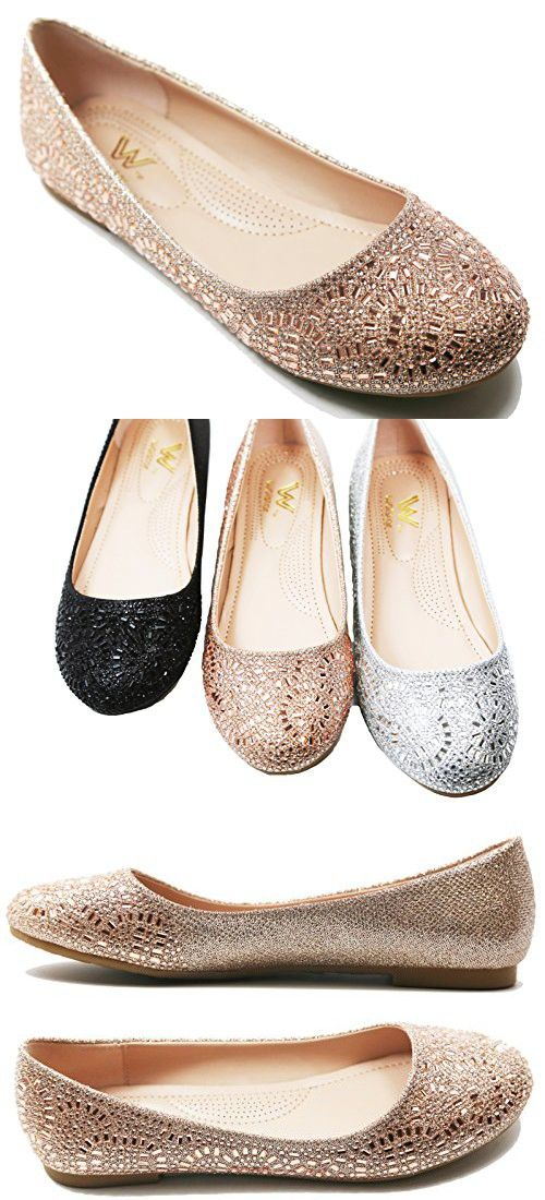 a40f58b58 Wedding Shoes Heels · Walstar Women Casual Rhinestone Glitter Mesh Slip On  Ballet Flat Lightweigh