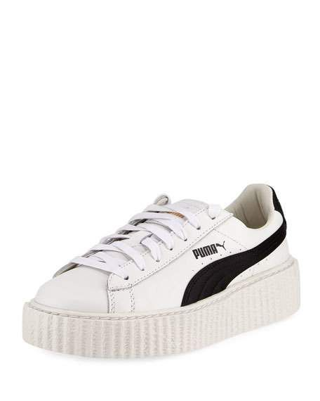 sneakers for cheap 1bb04 40549 FENTY X PUMA LEATHER CREEPER SNEAKER, WHITE/BLACK ...