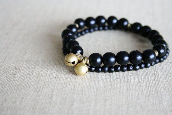 Brass bell bracelets // brass heishi // layered stacked by kisii, $20.00