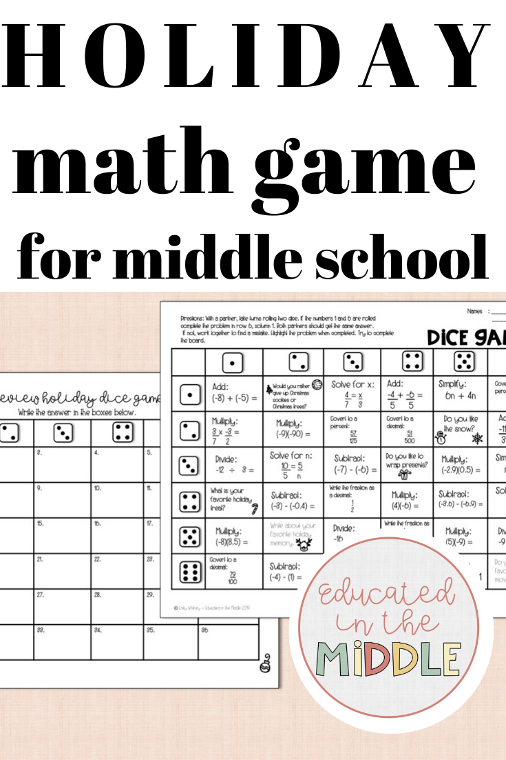 Holiday Math Game For Middle School Holiday Math Games Holiday Math Math Games