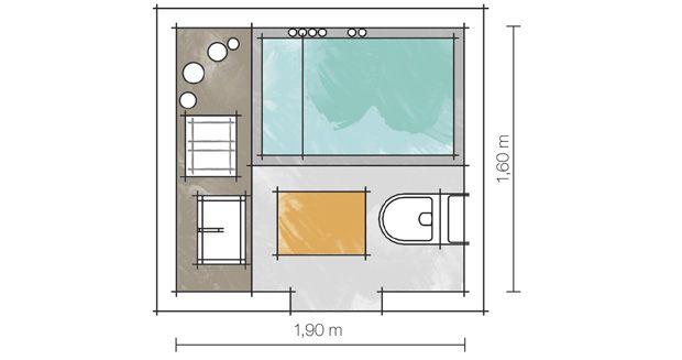 Banheiros pequenos e bem resolvidos  Formas de entrada, Banheiro e Ideias -> Metragem Minima Para Banheiro Com Banheira