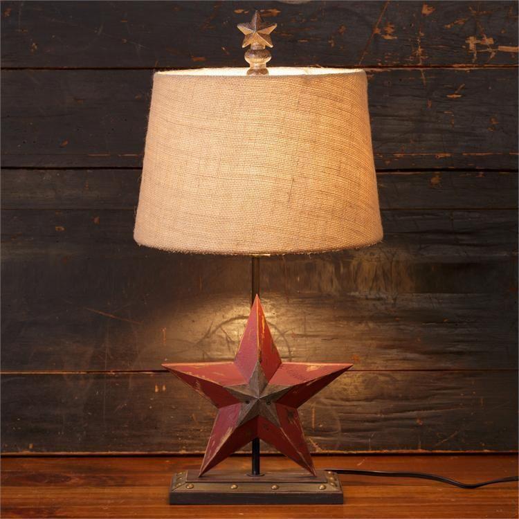 New Primitive Country Rustic Barn Star Lamp Burlap Shade Electric Table Light Star Lamp Primitive Decorating Country Primitive Decorating