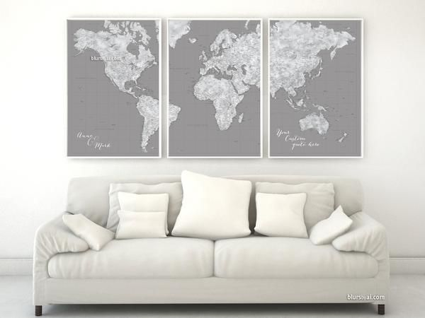 Custom quote highly detailed world map poster split in 3 panels custom quote highly detailed world map poster split in 3 panels grunge grayscale watercolor gumiabroncs Images